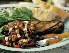 Eggplant Steak with Chickpeas, Roasted Red Peppers, Feta Cheese and Black Olives: Steaks Dinners, Feta Cheese, Bold Flavored, Eggplants Steaks, Black Olives, Inventions Recipes, Aubergine Steaks, Roasted Red Peppers, Grilled Eggplants