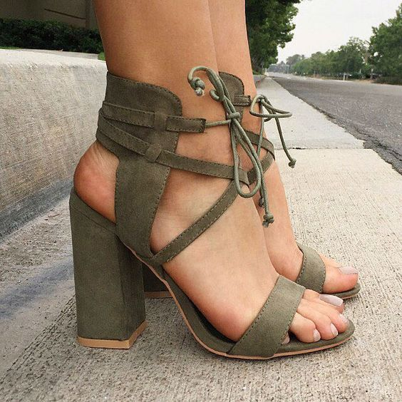 Chunky Heels - I've been looking for an olive chunky heel sandal!!! YESSS!!!