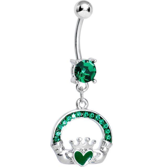 Emerald Green Gem Green Heart Irish Claddagh Dangle Belly Ring