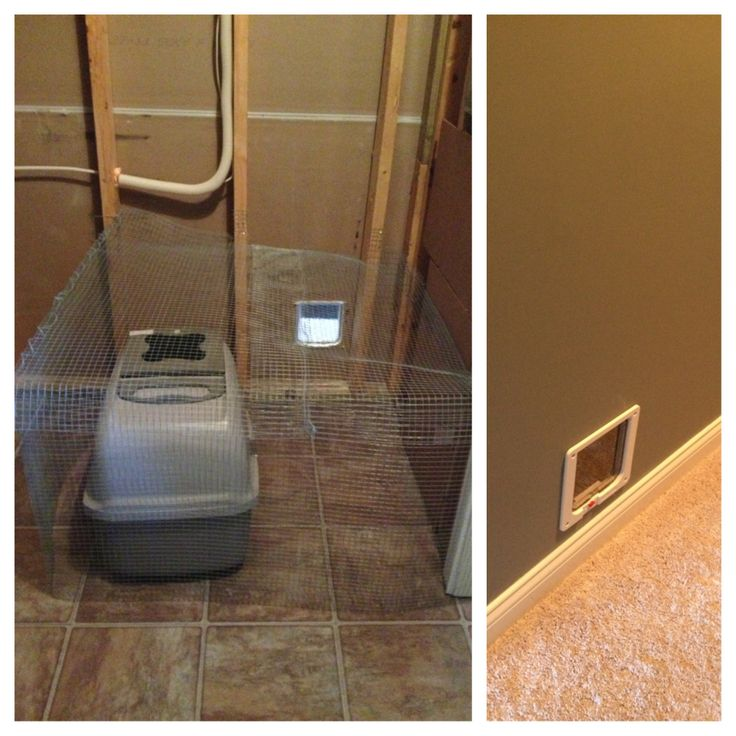 DIY Hidden Litter Boxes, Caged With Chicken Wire, Small Cat Door Through  Interior Wall