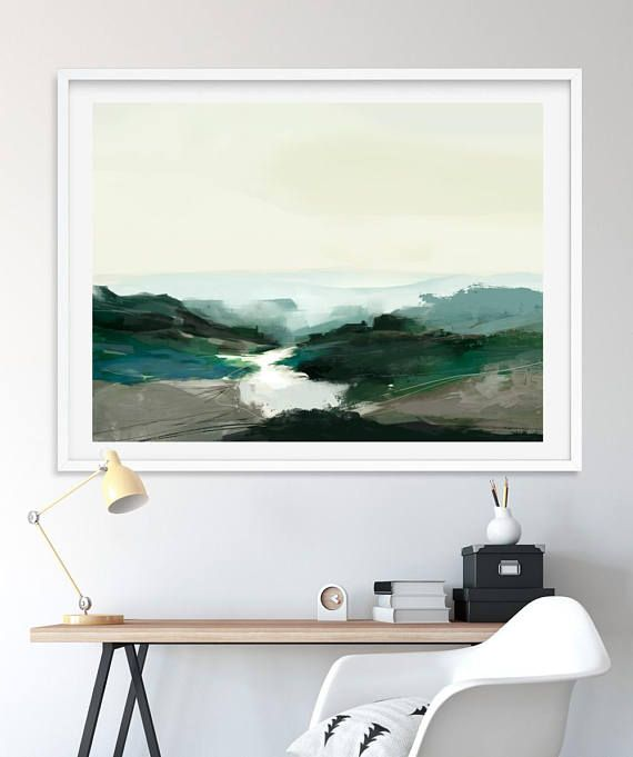 Abstract Landscape Painting Digital Download Highland View Green Landscape Large Wall Art By Artist Dan Hobday Light Green Colours