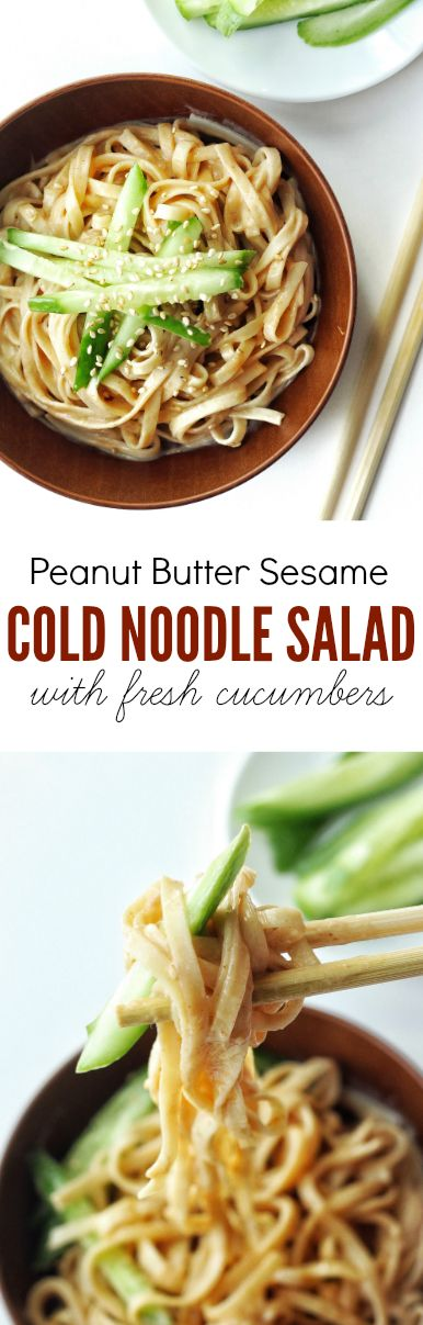 Asian cold noodle salad with peanut butter sesame dressing, topped with fresh cucumbers and sesame seeds. Perfect recipe for a hot summer day!