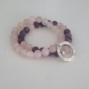 Stone and Shadow for a cause. Nicaragua pink and purple beads
