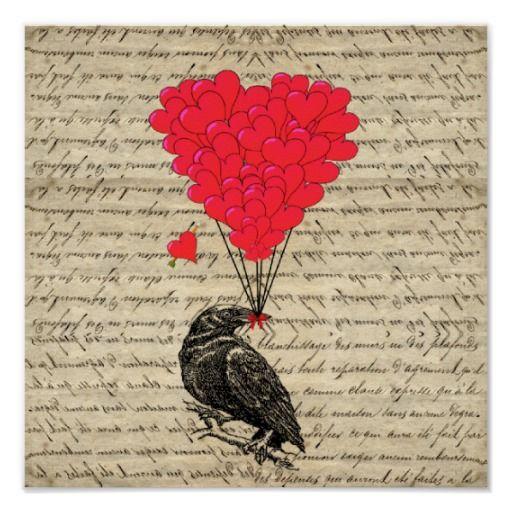 Corneille vintage et ballons en forme de coeur posters