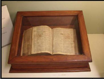 An old Bible from 1634.  It belonged to Rev. John Lathrop from Plymouth Plantation.
