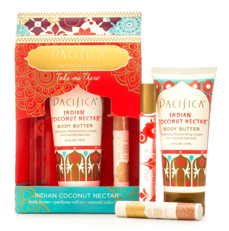 A generous giftable trio of scented luxuries.  Pacfica's Take Me There Set features three travel-size products infused with nourishing natural ingredients and Pacifica's transporting and inspiring fragrance blends with essential and natural oils.   Indian Coconut Nectar Body Butter - Indian Coconut Nectar Perfume Roll- Natural Color Quench Lip Tint