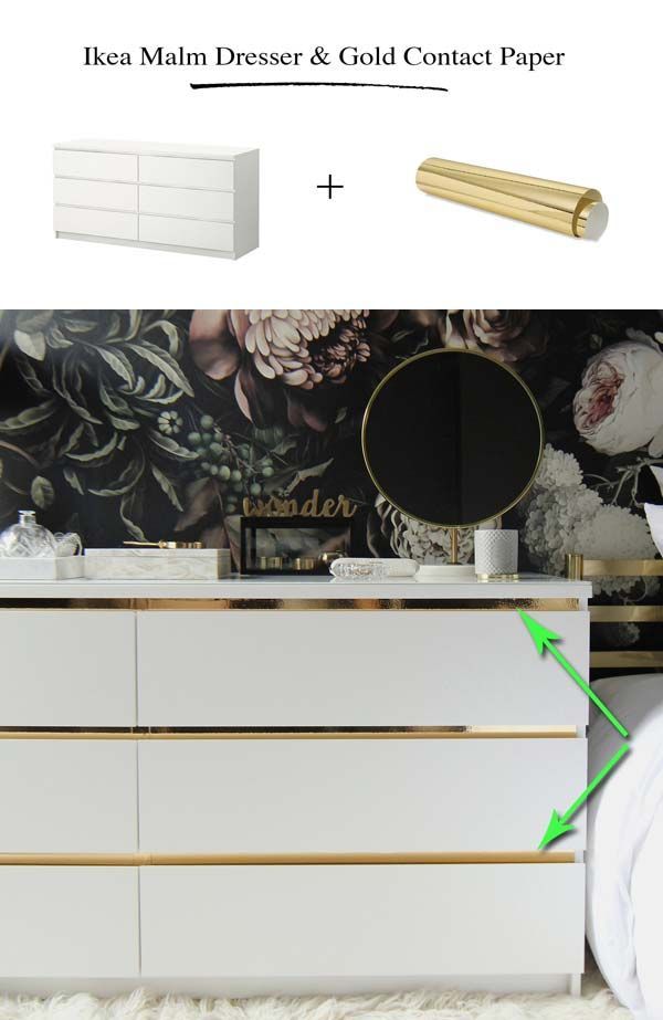 Gild your Malm dresser with gold contact paper. Cheap Ways to Make IKEA Stuff from Plain to Expensive-Looking