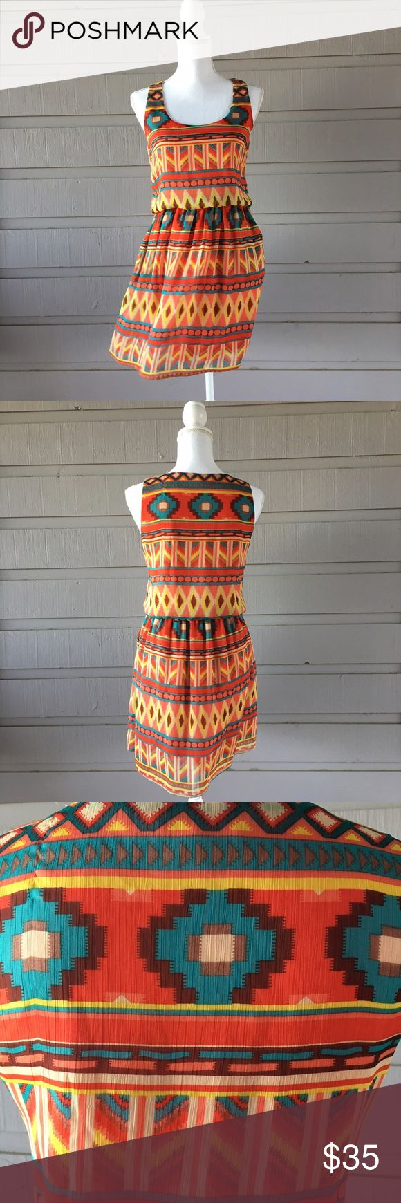 Southwestern/ aztec print dress Fully lined with pockets! Questions welcome, all offers considered. tea n rose Dresses