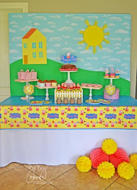 This blogger has a fantastic post and video about hosting a Peppa Pig party. Have a look and be inspired! GreyGrey Designs: {My Parties} Peppa Pig Party