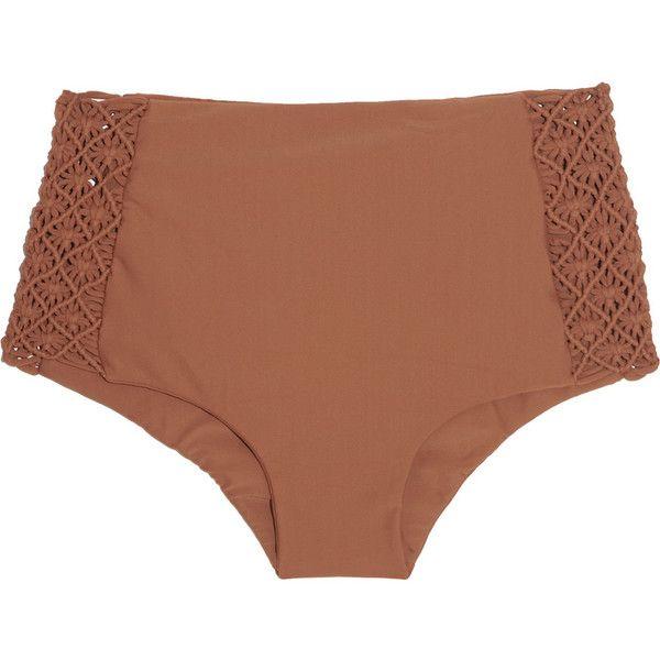 Tori Praver Toledo macramé-detailed high-rise bikini briefs (£39) ❤ liked on Polyvore featuring swimwear, bikini, swimsuits, intimates, beachwear, brown and tori praver swimwear
