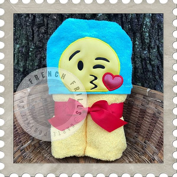 Kissy Emoji hooded towel embroidery design.  Applique sewing project idea.