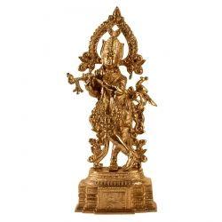 Brass Krishna With peacock (Gold Polish)