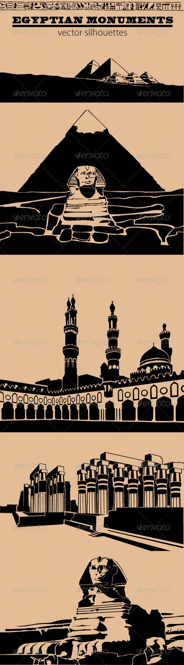 Egyptian Monuments  #GraphicRiver         Egyptian Monuments  	 Vector Silhouettes  	 - View of the desert, the Valley of the Kings and the pyramids  	 - The Great Pyramid of Giza  	 - The Al-Azhar Mosque  	 - Luxor Temple  	 - The Sphinx   Contents:  	 1 .AI file for illustrator cs2  	 1 .EPS file for illustrator 10  	 6 high definition PNG files with transparency     Created: 17October13 GraphicsFilesIncluded: TransparentPNG #VectorEPS #AIIllustrator Layered: Yes MinimumAdobeCSVersion: CS…