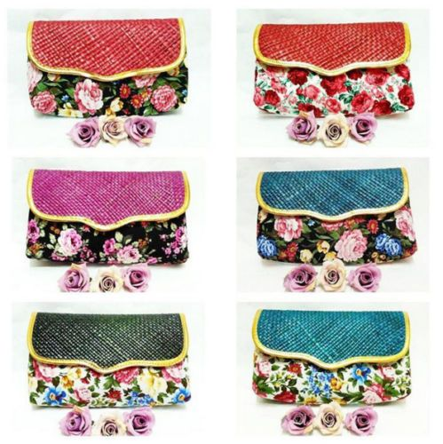 Flower-Shabby-Chic-Woven-Clutch-Multidesign-Women-Handbag-Purse