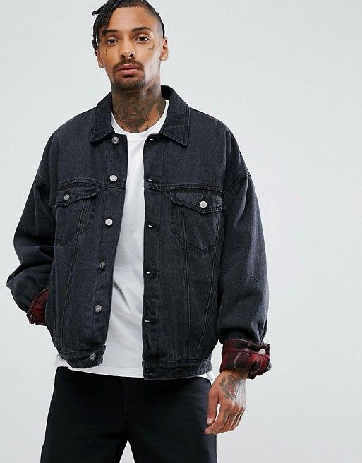 ASOS Oversized Denim Jacket with Padding in Washed Black