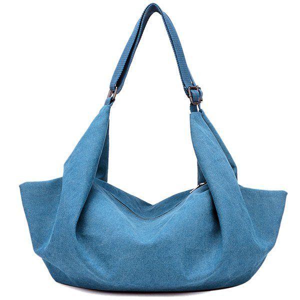 Zip Metal Canvas Shoulder Bag