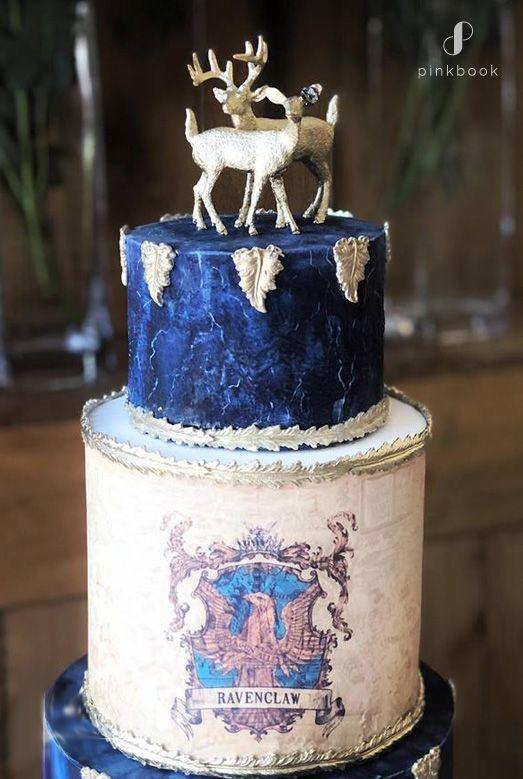 ravenclaw harry potter wedding cake | 34 Unique Wedding Cake Toppers #weddingcaketoppers #cakes #weddingcakes