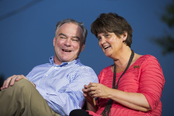 Tim Kaine and his wife and Anne Holton smile together at a campaign event on July 29 in Harrisburg, Pennsylvania. Brooks Kraft