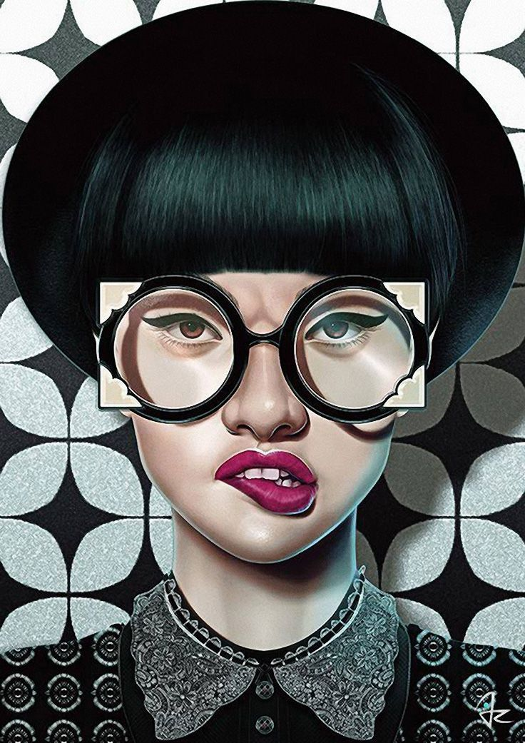Giulio Rossi {beautiful female head eyeglasses young woman face portrait digital painting}