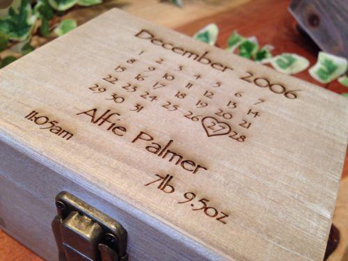 Personalised Wooden Baby Keepsake Calendar Box Special Gift Memory Box Trinket in Baby, Christening & Gifts, Christening | eBay