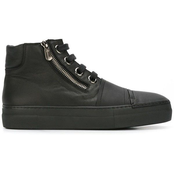 Rocco P. - zipped hi-top sneakers - women - Leather/rubber - 40 ($279) ❤ liked on Polyvore featuring shoes, sneakers, black, black shoes, black leather shoes, leather sneakers, leather high tops and leather hi top sneakers