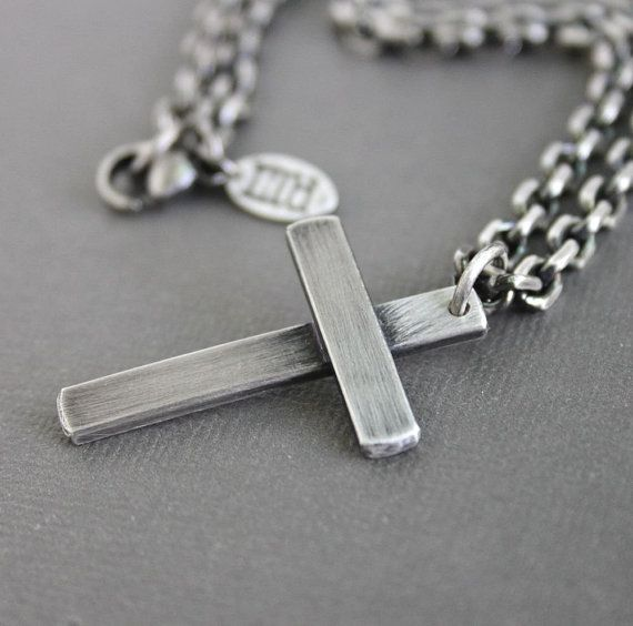 84 best mens silver necklaces images on pinterest mens silver cross necklace mens chain necklace by lynntodddesigns aloadofball Images