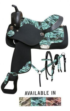 Pink Double T Synthetic saddle set with camo print seat and accents