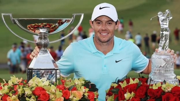 Rory McIlroy wins a three-way play-off at the Tour Championship to claim the FedEx Cup and £8.85m in prize money.