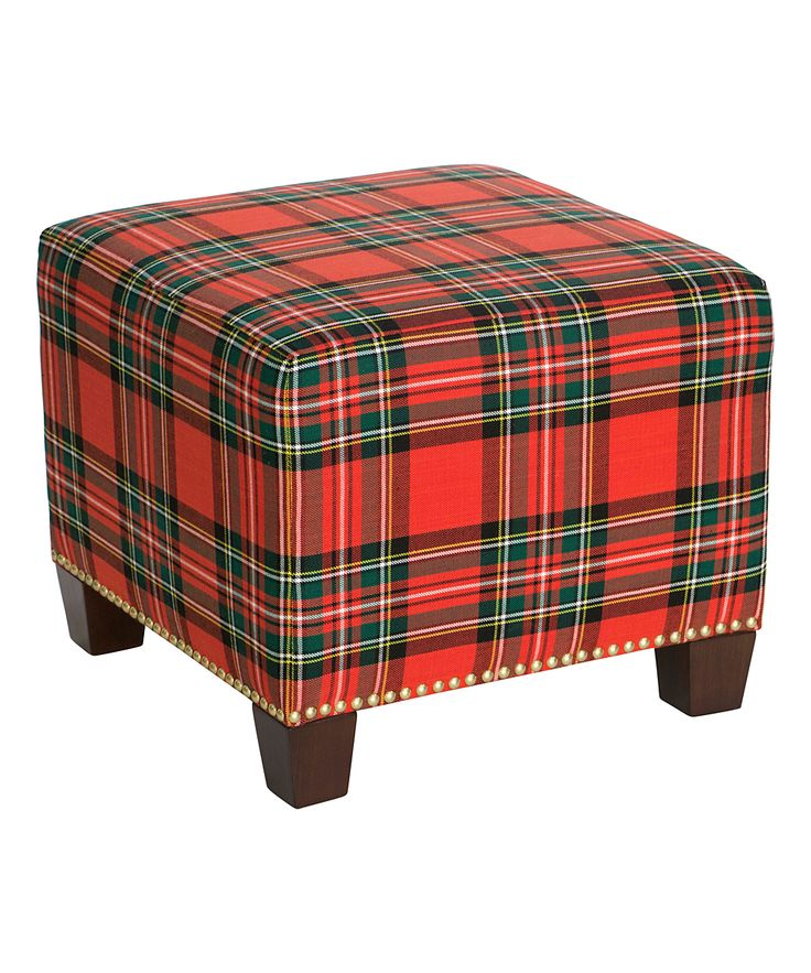 Ancient Stewart Red Nail Button Square Ottoman