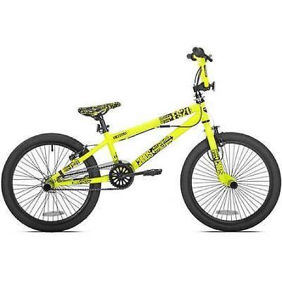Boys Bmx Bike 20 Inch Neon Yellow Mongoose Kid Freestyle Handle Bar Single Speed