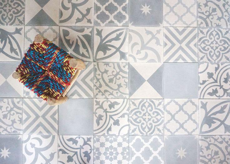 grey patchwork cement tiles