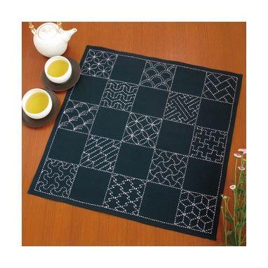 sashiko kit: tafelkleed  vierkantjes