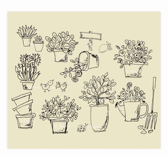 Hand Drawn Garden Plants Clip Art Flowers Artpot By KjPaperie