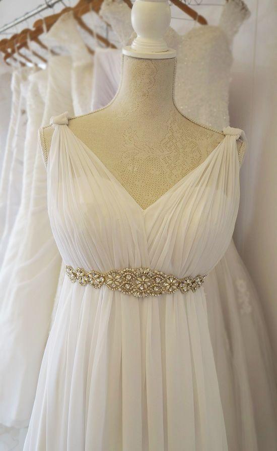Pleated chiffon Grecian stylewedding dress. Urban Bride Cape Town.