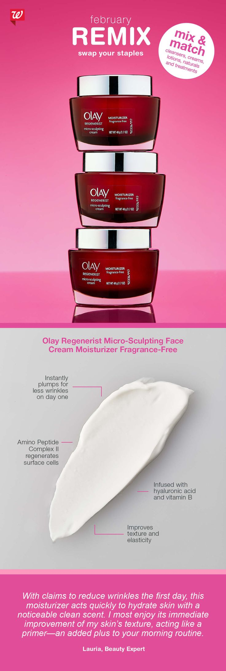 Did you know? Hyaluronic acid, a main ingredient in Olay Regenerist Micro-Sculpting Face Cream Moisturizer, enhances skin's ability to hold moisture for a younger-looking complexion.