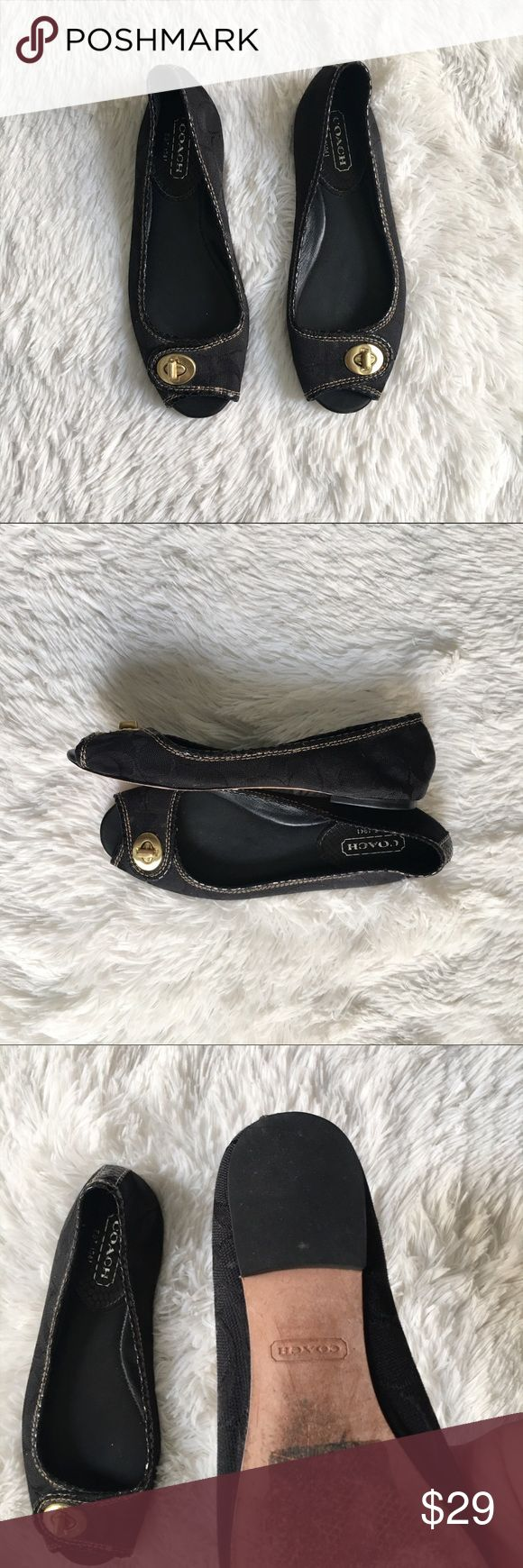 Coach Flats 'Nicola' Black Logo Print Gold Clasp 6 Classy coach Flats with logo embossed printed material. Features gold clasp. Definite contender for your favorite everyday shoe   • Size 6  • Peep toe  • Black and gold  • Made In China  • Good used condition   I am  ⭐️⭐️⭐️⭐️⭐️ 5-Star rated plus Ship in 48hrs or less ! Coach Shoes Flats & Loafers