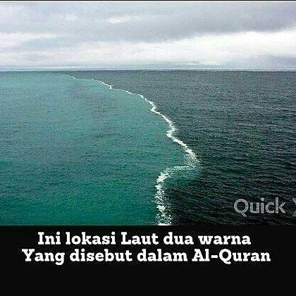 """@Regrann from @salman_al_jugjawy -  #ngopi #ngobrolperkaraiman #alquran  @Regrann from @pengetahuanagama - """"Dia membiarkan dua lautan mengalir yang keduanya kemudian bertemu antara keduanya ada batas yang tidak dilampaui oleh masing-masing. Maka nikmat Allah yang manakah yang kamu dustakan. Dari keduanya keluar mutiara dan marjan. [Al-Rahman: 19-22]  Dari ratusan tempat yang diteliti ternyata laut dua warna yang disebutkan dalam Alquran berada di Selat Gibraltar yang menghubungkan antara…"""
