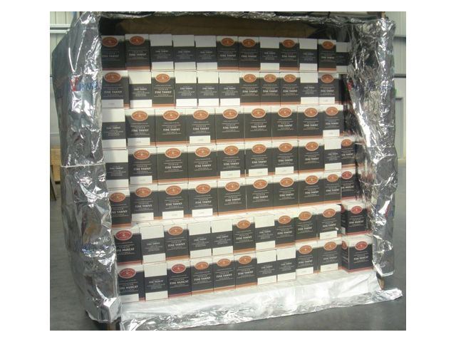 A container full of wine ready for export.. protected by JMP's Envirotuff Thermal Container Liner.