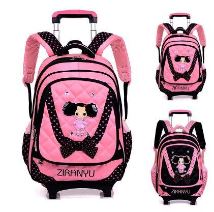 Дети колесных школьный рюкзак дети школы тележка рюкзак коробка шаблон прокатки багажа дети съемный и ортопедические сумка