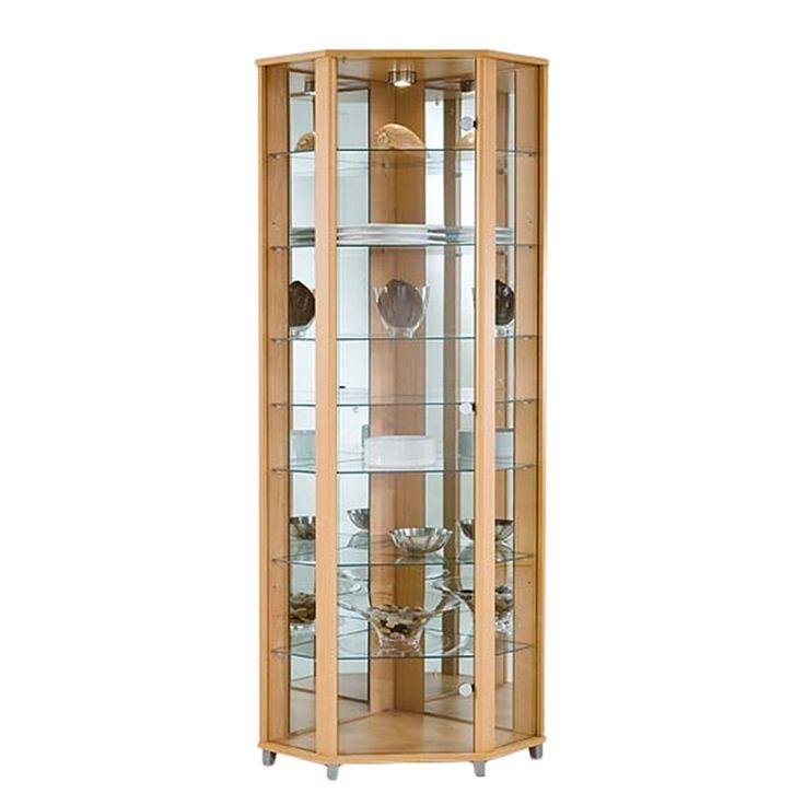 Eckvitrine Amalia - Buche Dekor - Mit 7 Glas-Einlegeböden