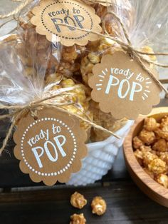 Set of 20 Handmade Ready to POP Gift Tags + Bags Kit-Hand Embossed-Baby Shower Favor Tag-Gender Reveal Party-Kraft-Twine-Popcorn Bag Favor