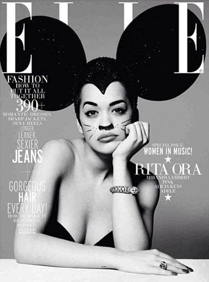 Celebrity Rita Ora channels famous cartoon character Mickey mouse not a cartoon but shows how famous Mickey Mouse is