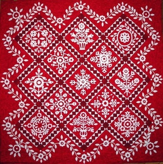 """This quilt is """"Symphony in Red"""" by Mike470 from The Quilt Show."""