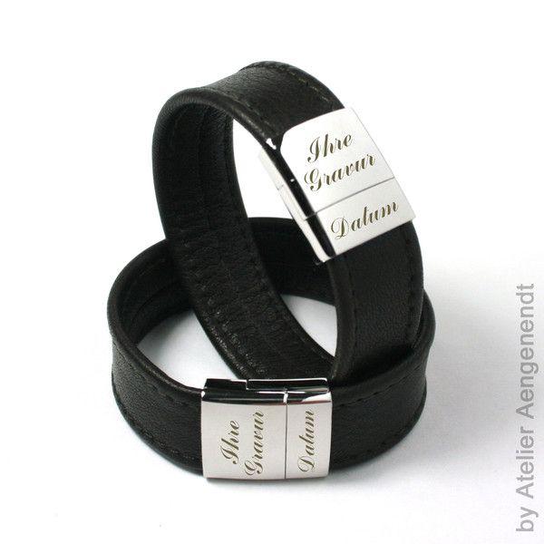 Armbänder - LA-N (DB) Damen & Herren Lederarmband mit G... - ein Designerstück von Fotoschmuck24 bei DaWanda
