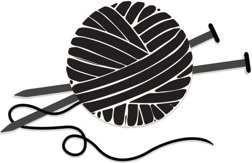 ball of yarn silhouette | Stylized Ball Of Yarn And Knitting Needles Icon Vectorkunst | Getty ...