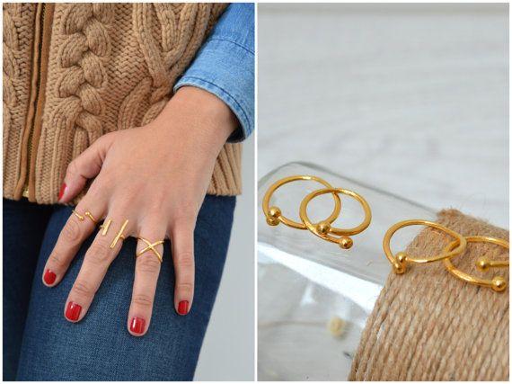 SET of 2 Silver Geometric Chevalier Ring by WalktheTalkJewelry