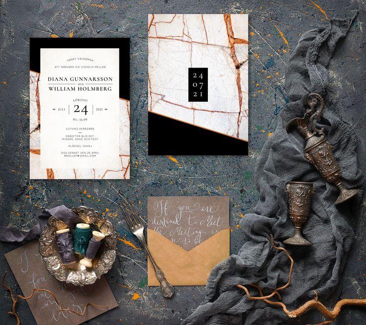 Beautiful marble wedding invitation