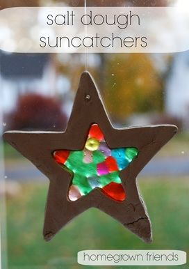 Salt dough and pony beads combine to make these stars.