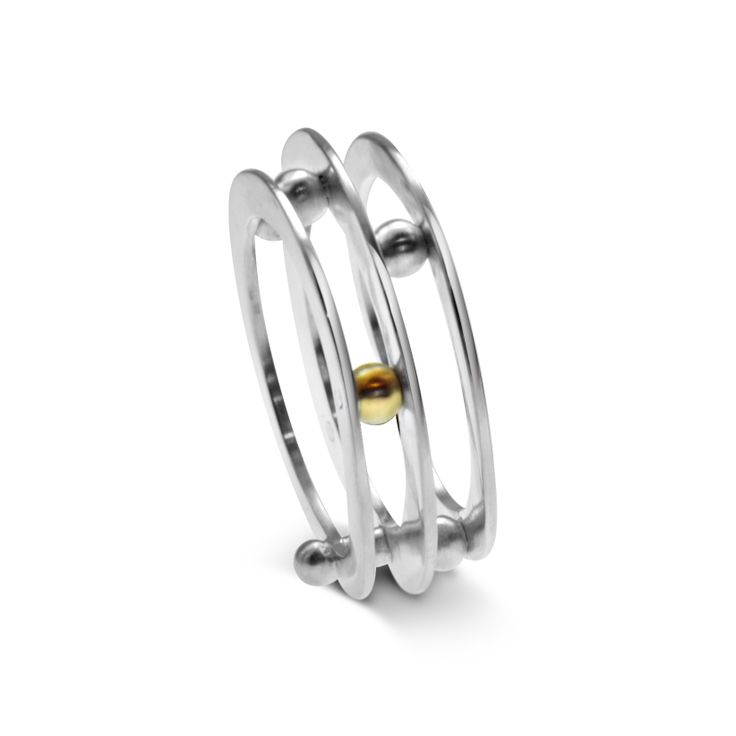 """Ring -""""Mille pattes collection""""- 2010 - sterling silver, 9ct & 18ct yellow gold by Julie Nicaisse Jewellery www.julienicaisse.com"""