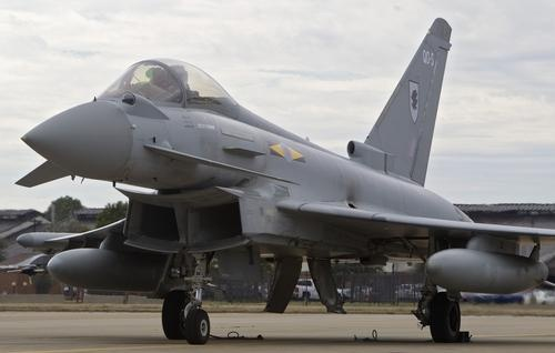A Typhoon aircraft taxis out prior to a flight exercise at Langley Air Force Base in Hampton on Tuesday. Members of the Royal Air Force XI Squadron are in town for several weeks for Western Zephyr, a joint training exercise. (Kaitlin McKeown / February 5, 2013)